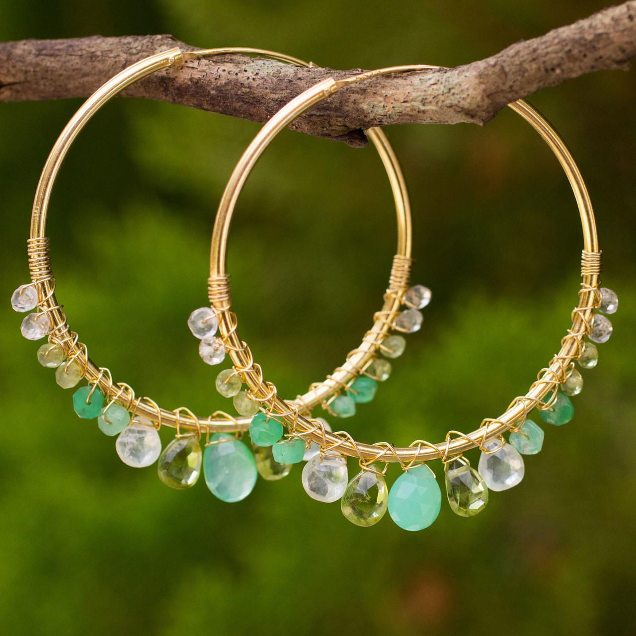 Gold Plated Hoop Earrings with Assorted Green Gemstones 'Spring Serenade'