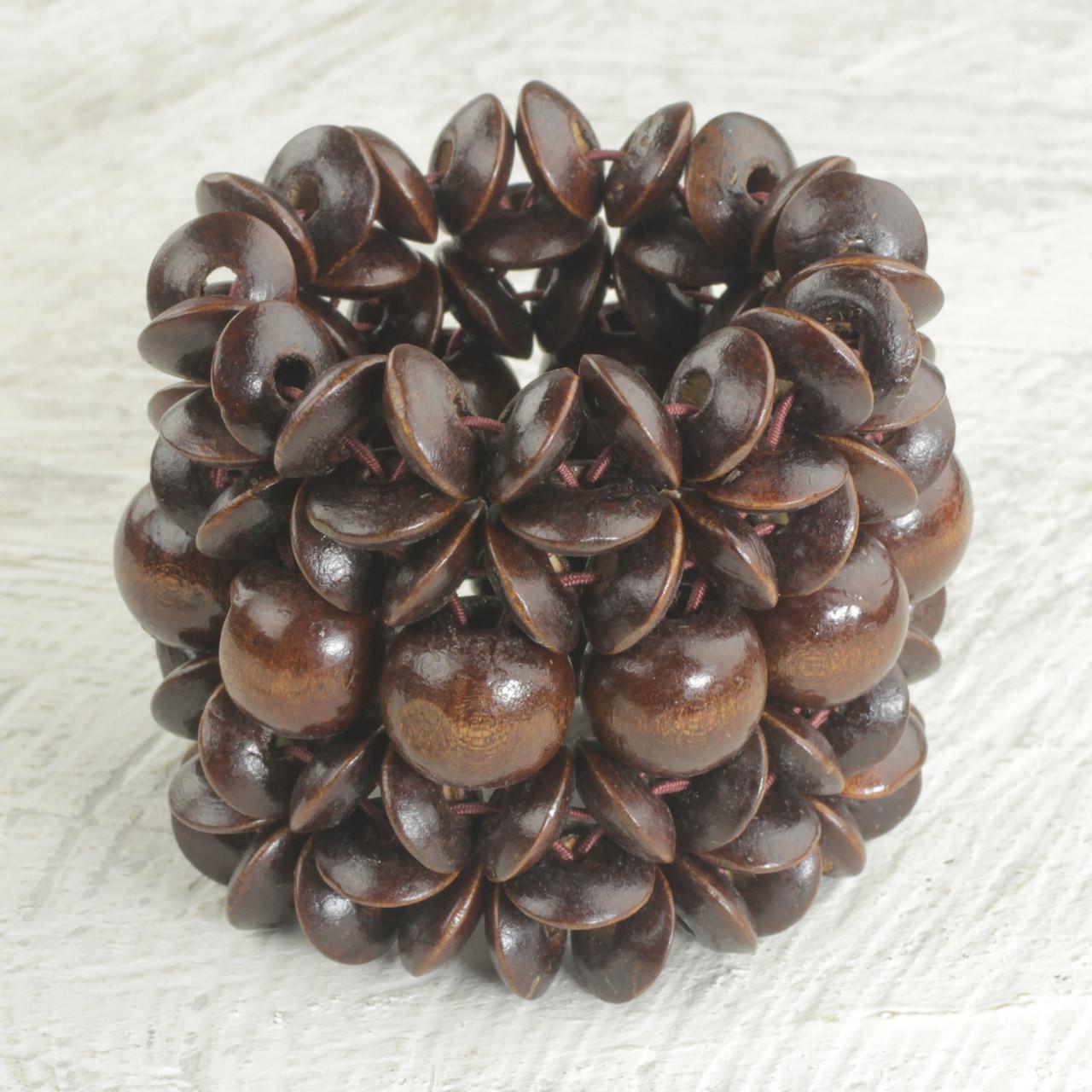 Sese Wood Beaded Bracelet in Dark Brown from Ghana 'Giving Aseda in Dark  Brown'