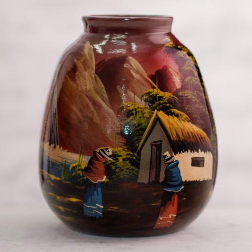 Hand Painted Cuzco Ceramic Vase 'The Cottage'