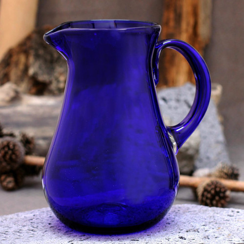 Blue Handcrafted Handblown Recycled Glass Pitcher 'Pure Cobalt'