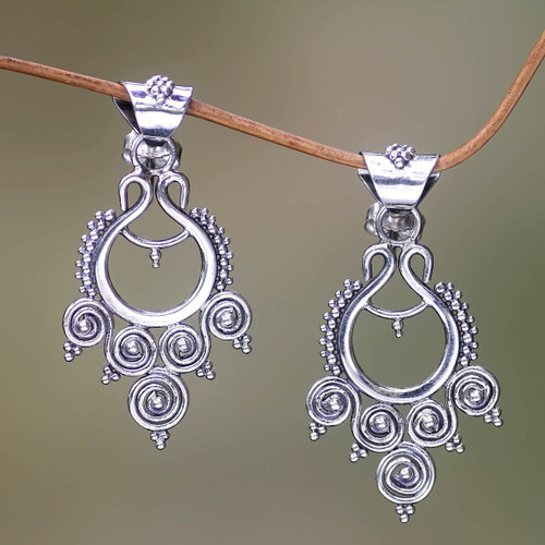 Indonesian Sterling Silver Dangle Earrings 'Goddess Coils'