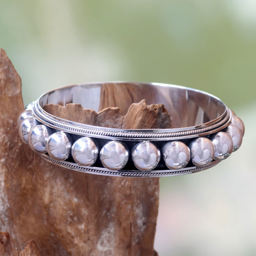 Sterling silver bangle bracelet '21 Balls'