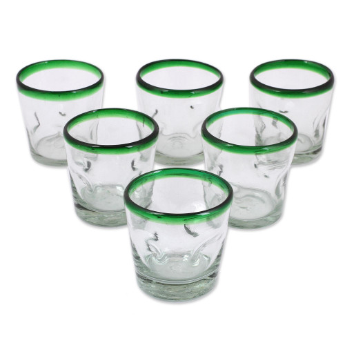 Handblown Glass Recycled Tumbler Juice Glasses Set of 6 'Lime Freeze'