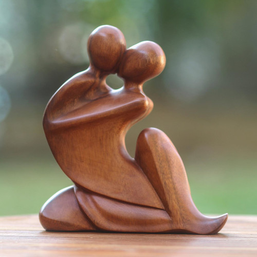 Indonesian Wood Sculpture 'The Embrace'