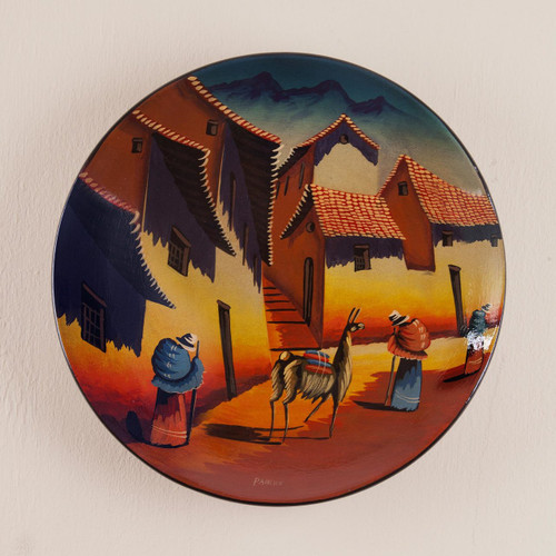 Handmade Ceramic Decorative Painted Wall Plate from Peru 'Andean Village'