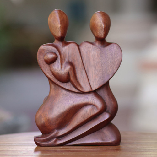 Original Wood Sculpture Hand Carved in Indonesia 'Family Peace'