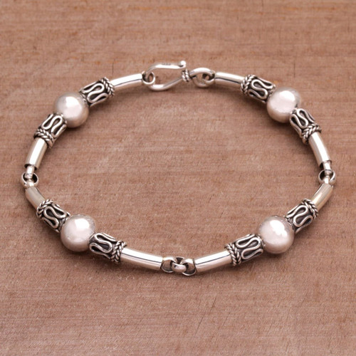 Sterling Silver Link Bracelet with Balinese Designs 'Tubes'