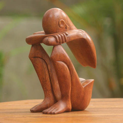 Hand Carved Suar Wood Sculpture 'Abstract Rest'