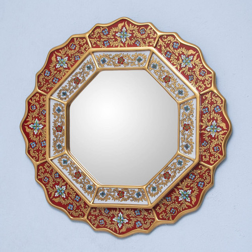 Collectible Floral Glass Wood Mirror 'Red Star'