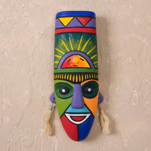 Hand Crafted Ceramic Mask 'Inca Priest'