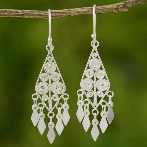 Sterling Silver Filigree Earrings 'Silver Foliage'