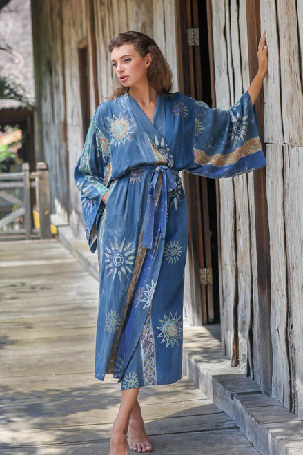 Women's Handcrafted Batik Robe 'Midnight in Blue'