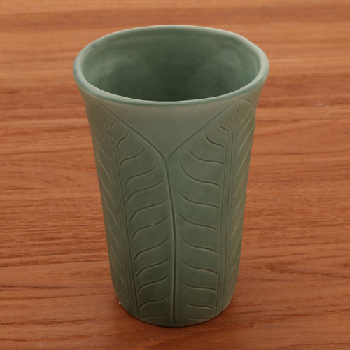 Handcrafted Green Ceramic Vase 'Forest Leaves'