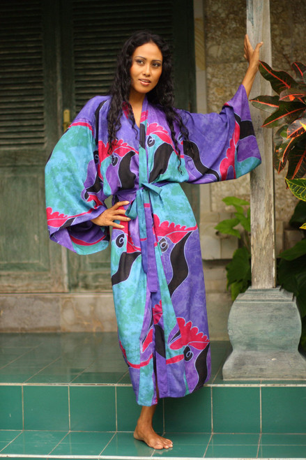Women's Batik Patterned Robe 'Turquoise Ocean'