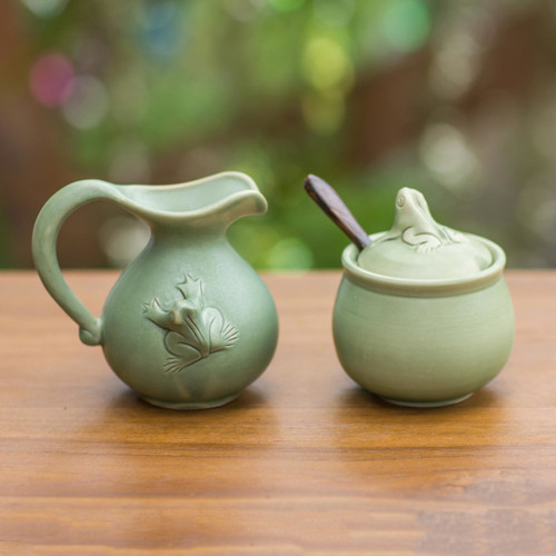 Fair Trade Ceramic Sugar Bowl and Creamer 'Fancy Frogs'