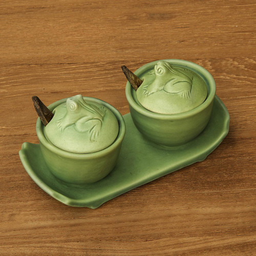 Ceramic Condiment Bowls Set with Tray 'Coriander Frogs'