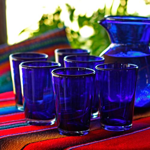 Handblown Recycled Glass Tumbler Drinkware (Set of 6) Blue 'Cobalt Angles'