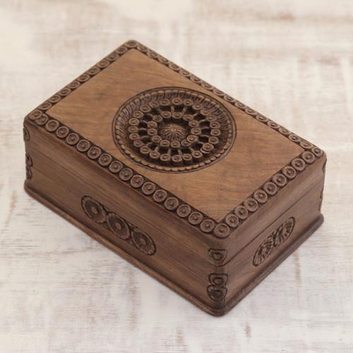 Carved Walnut Wood Jewelry Box 'Exotic Radiance'