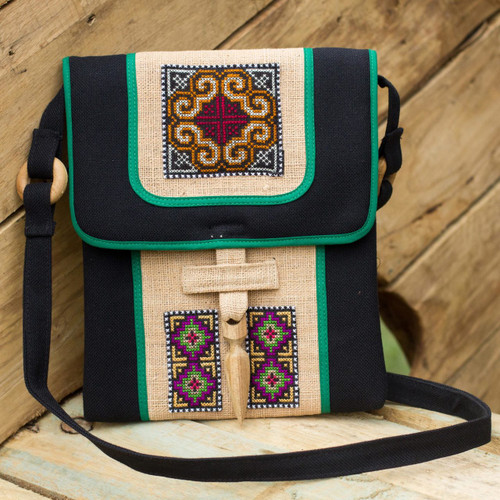 Hill Tribe Embroidered Hemp Handbag 'Colors of the Night'
