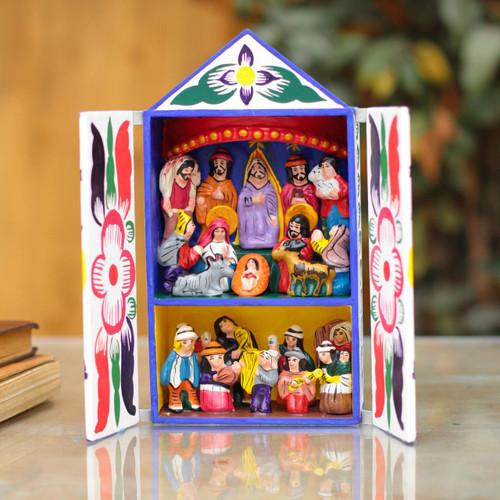 Folk Art Retablo Peruvian Nativity Scene 'Chapel of Santa Ana'