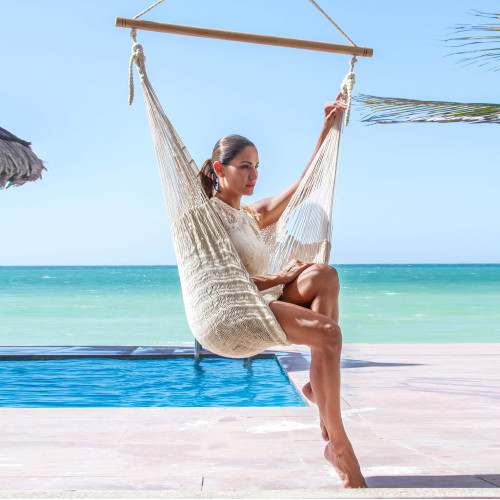 Unique Mexican Ivory Cotton Swing Hammock 'Deserted Beach'