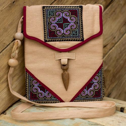 Hemp Shoulder Bag Handmade in Thailand 'Miracle Red'
