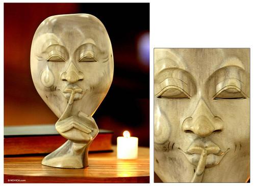 Original Hibiscus Wood Sculpture 'Silence is Golden'