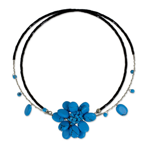 Unique Floral Turquoise Colored Choker 'Delicate in Blue'