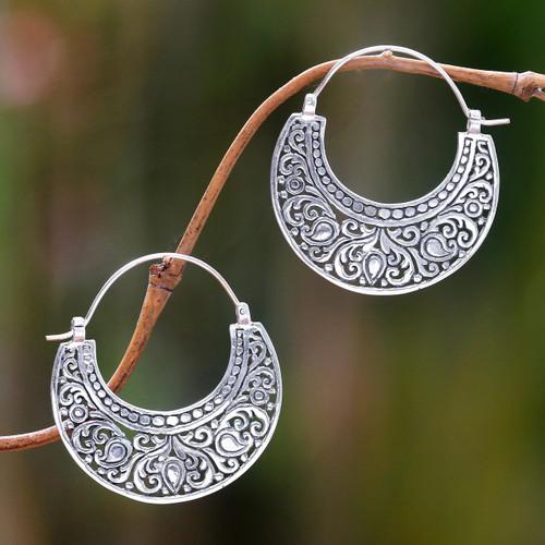 Ornately Detailed Sterling Silver 925 Hoop Earrings 'Garden of Eden'