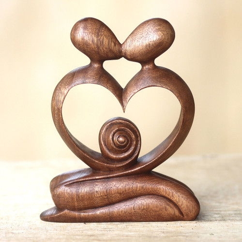 Hand Carved Romantic Wood Sculpture 'Love of My Life'