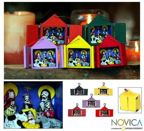 Christmas Ornaments Nativity Scene Set of 5 Handmade in Peru 'Retablos'