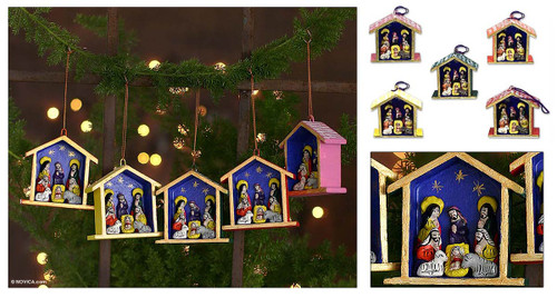 Ornaments (Set of 5) 'Huts'