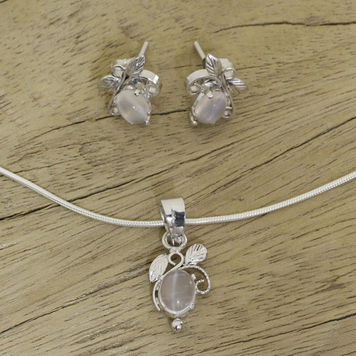 Artisan Crafted Sterling Silver Moonstone Jewelry Set 'Midnight Leaves'