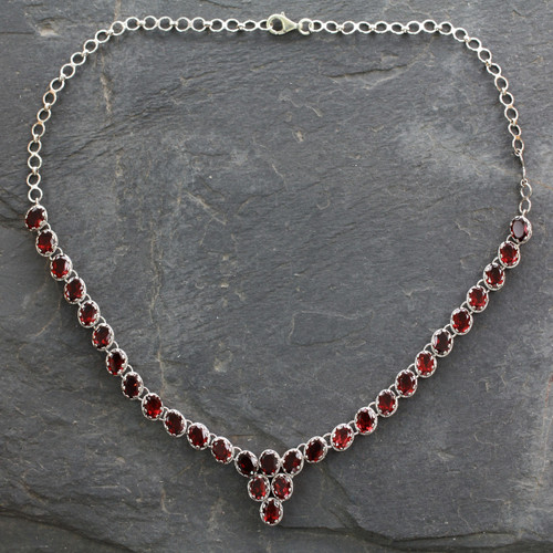 Fair Trade Garnet Choker Necklace Sterling Silver Love 'Cascading Crimson'