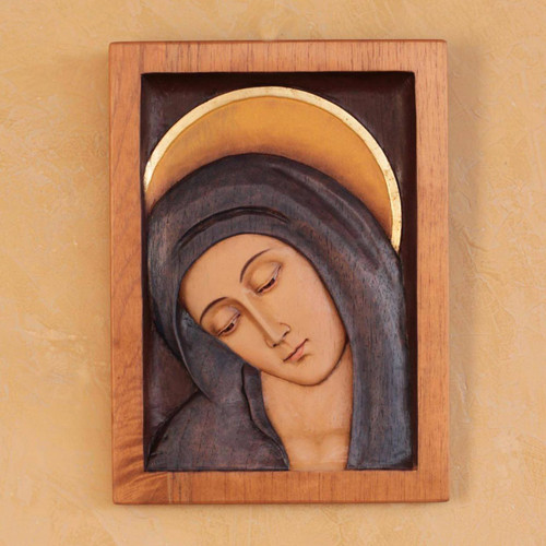 Artisan Crafted Religious Wood Virgin Mary Relief Panel  'Inclined Virgin'