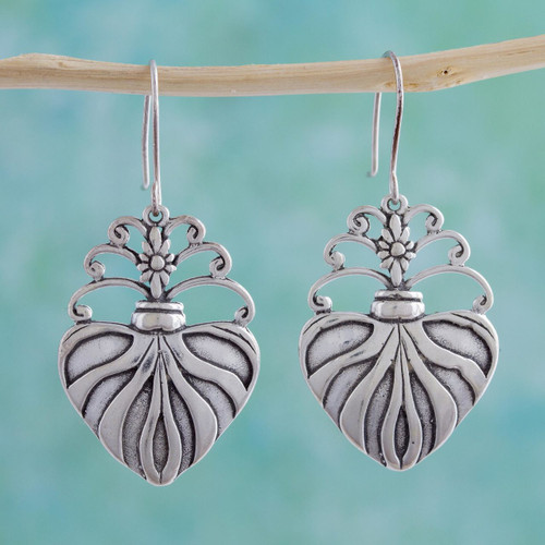 Sterling silver dangle earrings 'Sacred Heart'