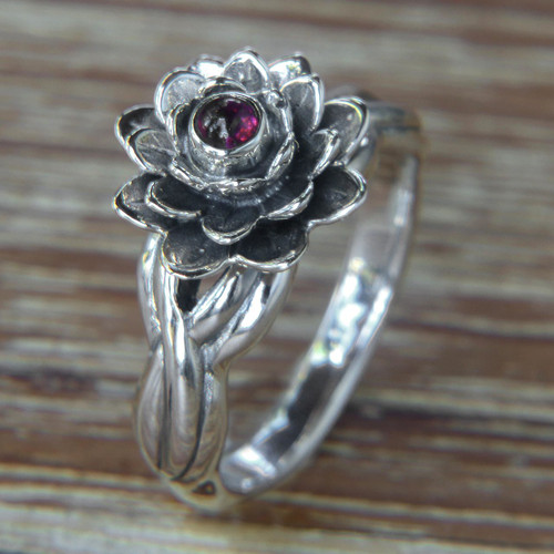 Handcrafted Floral Sterling Silver and Garnet Ring 'Red-Eyed Lotus'