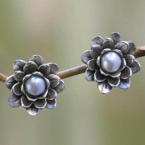 Floral Pearl and Sterling Silver Button Earrings 'White-Eyed Lotus'