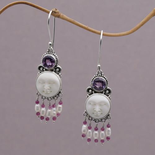Pearl and Amethyst Sterling Silver Earrings 'Dreams'