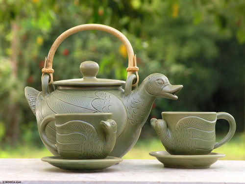 Artisan Crafted Ceramic Tea Set from Indonesia (Set for 2) 'Duck Family'