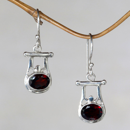 Indonesian Garnet and Sterling Silver Dangle Earrings 'Honor'
