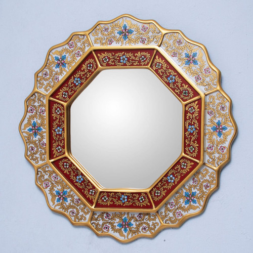 Reverse Painted Glass Wood Mirror from Peru 'White Star'