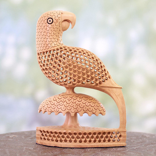 Handcrafted Indian Wood Bird Sculpture 'Perky Parrots'