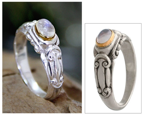 Silver and Rainbow Moonstone Solitaire Ring 'Swirls and Twirls'