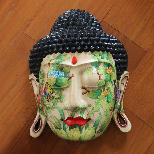 Wood mask 'Delighted Buddha'