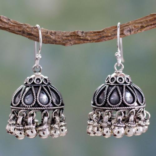 Fair Trade Jewelry Sterling Silver Chandelier Earrings 'Silver Bells'