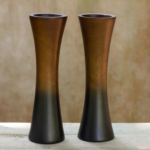 Handmade Mango Wood Vases (Pair) 'Thai Trumpets'