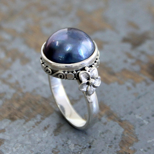 Floral Sterling Silver and Pearl Cocktail Ring 'Blue Moon'