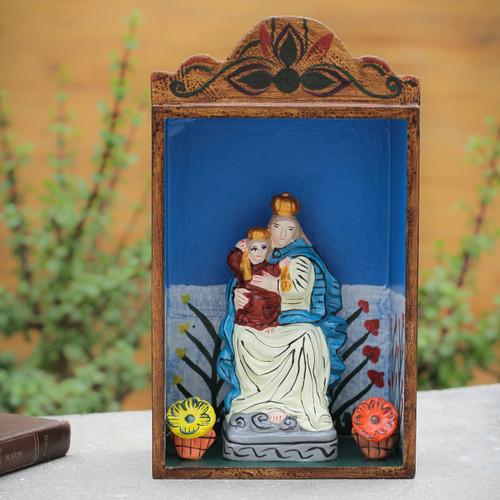 Handmade Wood Retablo Sculpture 'Our Lady of Fatima'