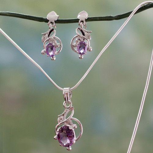 Amethyst Jewelry Set Sterling Silver Necklace Earrings 'Wisteria'